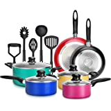 15-Piece Nonstick Kitchen Cookware Set PTFE/PFOA/PFOS- Free | Colorful Heat Resistant Lacquer Kitchen Ware Pots Pan Set w/ Sa