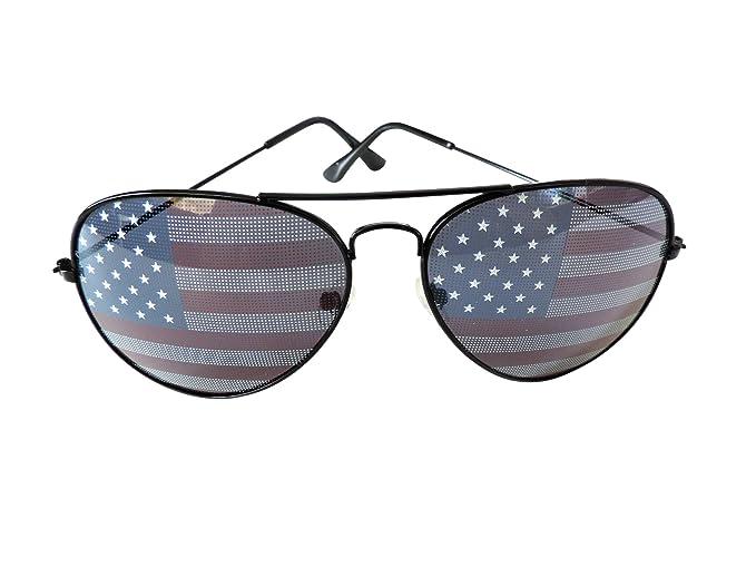 fe276633ea8e American Flag Aviator Sunglasses Stars Stripes Sunglasses Unisex Sunglasses  UV400 Protection (Black
