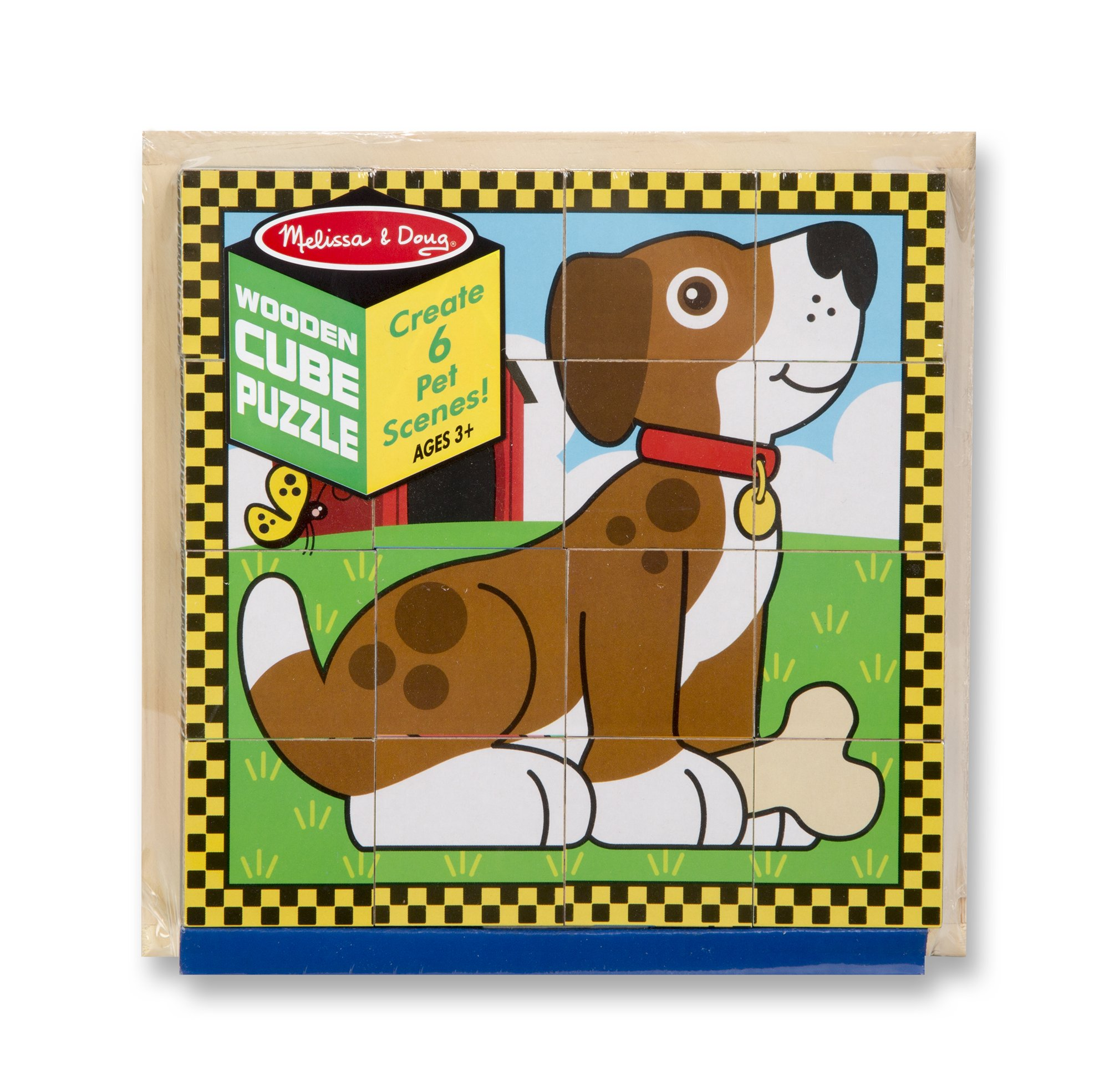 Melissa & Doug Pets Wooden Cube Puzzle With Storage Tray (16 pcs) by Melissa & Doug (Image #1)