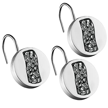 DWELLZA Silver Mosaic Resin Shower Curtain Hooks- Set of 12- Decorative Rust Resistant Bath Hook- Durable Construction- Smooth Gliding Mechanism- for Elegant Bathroom Decor (Silver Gray)