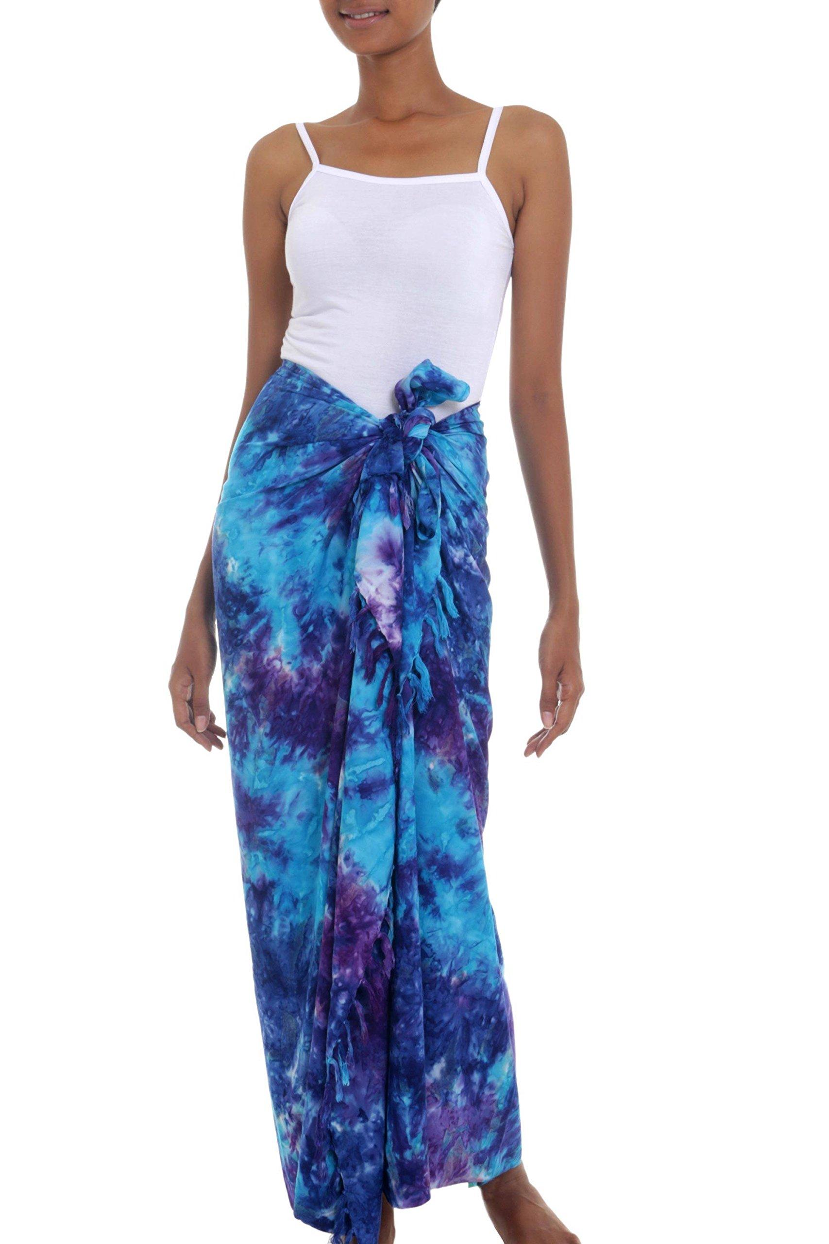 NOVICA Blue Purple Tie Dye Rayon Sarong Beach Swimsuit Cover Up 'Sea Glass'