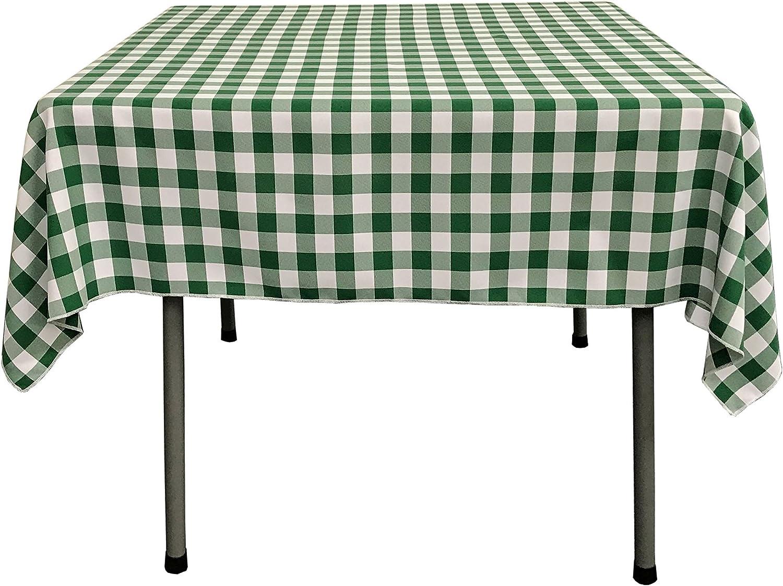 Amazon Com La Linen Gingham Checkered Square Tablecloth 52 X 52 Green And White Home Kitchen