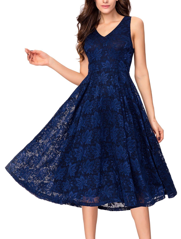 Noctflos Elegant Lace V Neck Fit & Flare Midi Cocktail Dress for Women Party Wedding (Medium, Dark Blue)