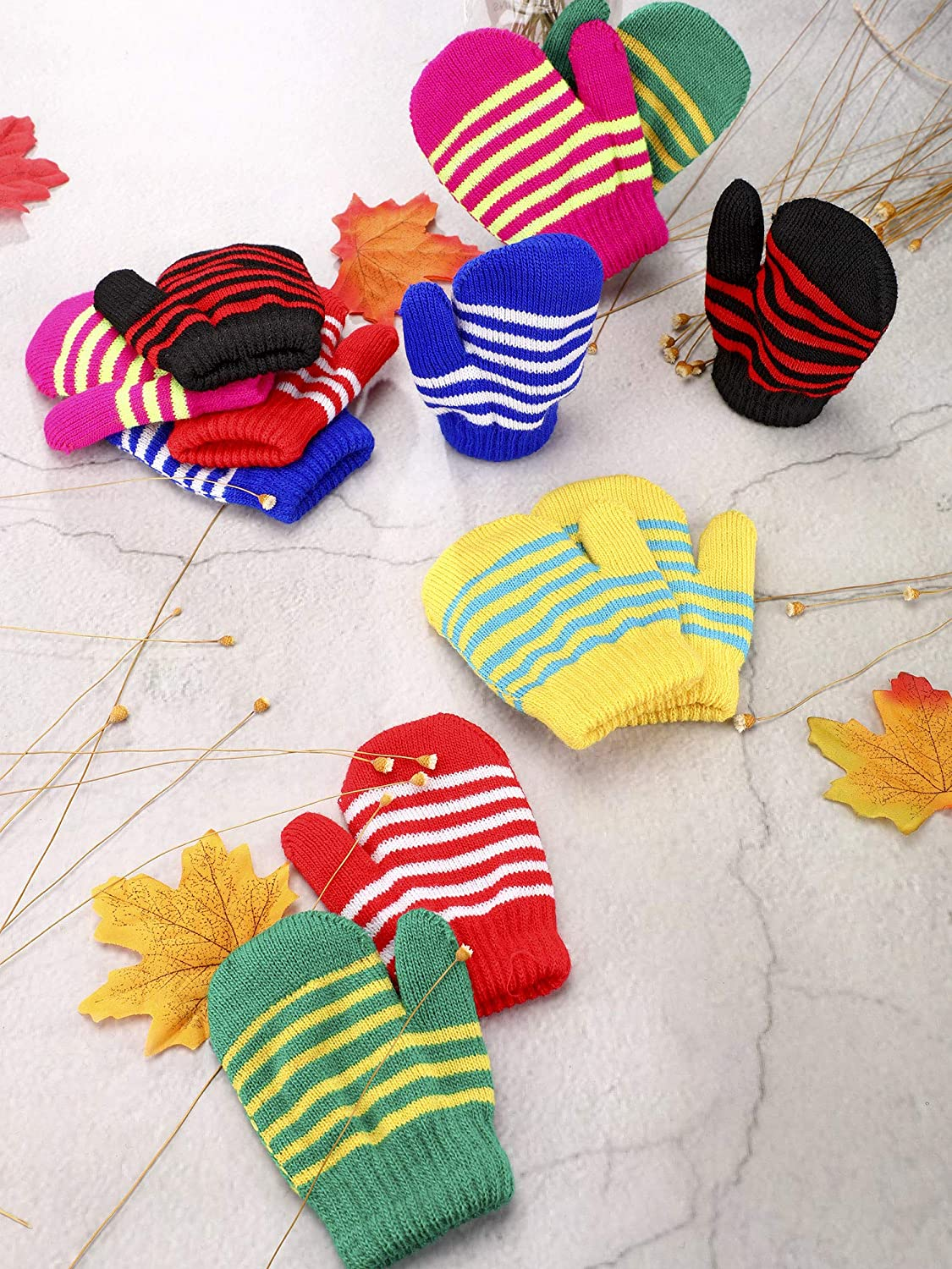 Boao Stretch Mittens Winter Warm Knitted Gloves for Halloween Party Kids Toddler Supplies