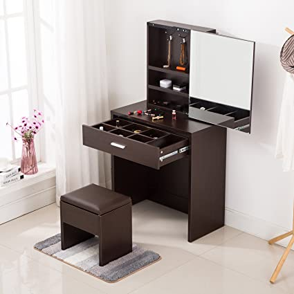 Lovely Mecor Vanity Table Set With Mirror/Drawers,Wood Makeup Dressing Table And  Stool (
