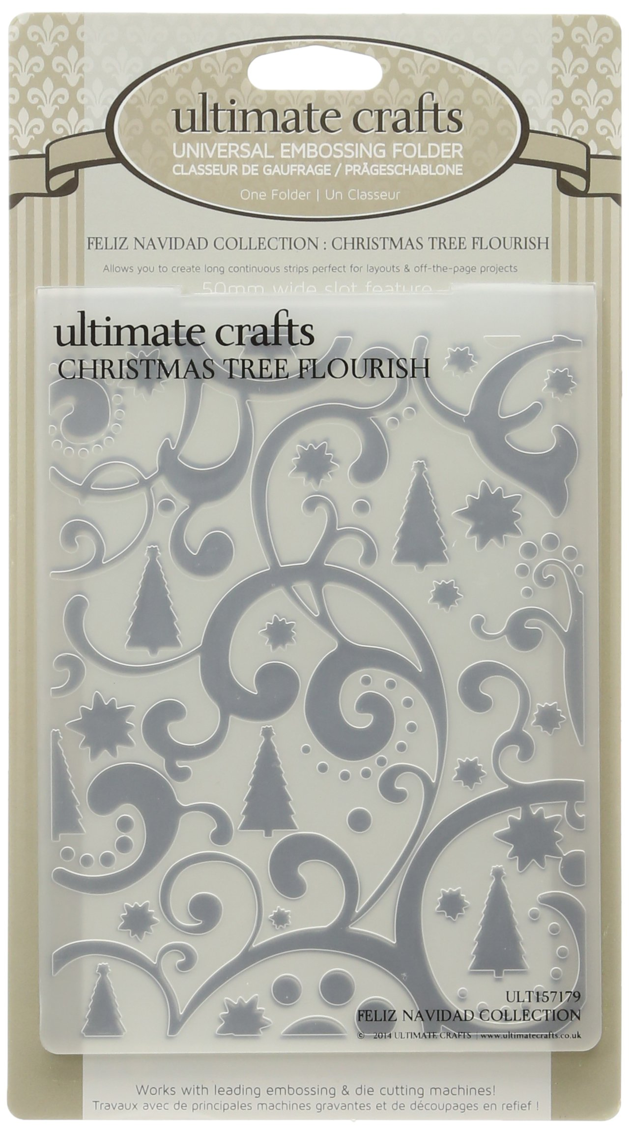 Ultimate Crafts Embossing Folder, 4 by 6-Inch, Christmas Tree Flourish by Ultimate Crafts