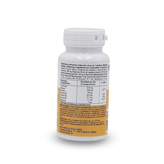 Triptófano con Magnesio, Vitaminas B6,B5,B3, Melatonina y Espirulina Como AntiOxidante, 60 C. Menos Cansancio Y Fatiga. Mejor Estado De Ánimo Concentración ...