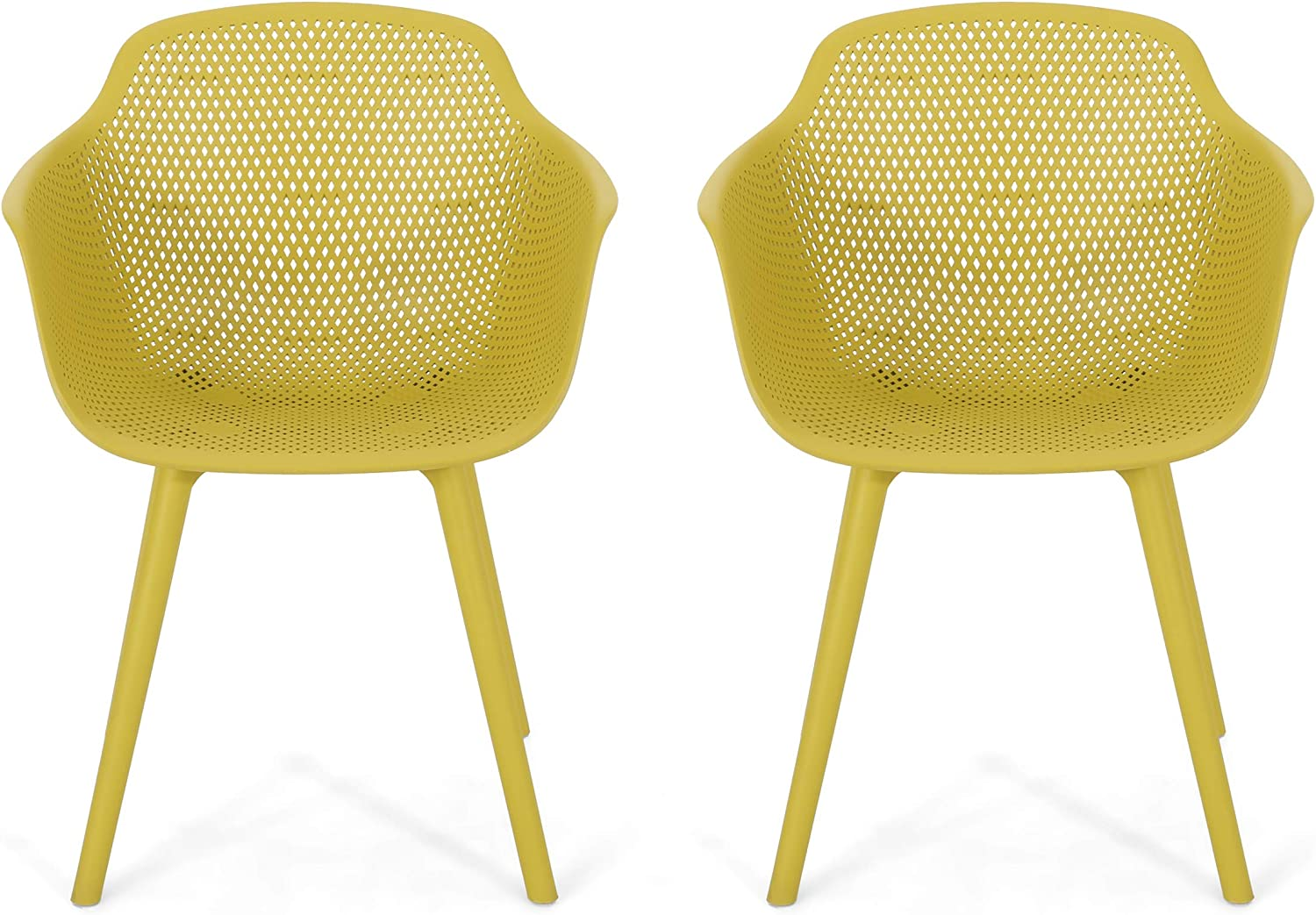 Christopher Knight Home 312465 Davina Outdoor Dining Chair (Set of 2), Yellow