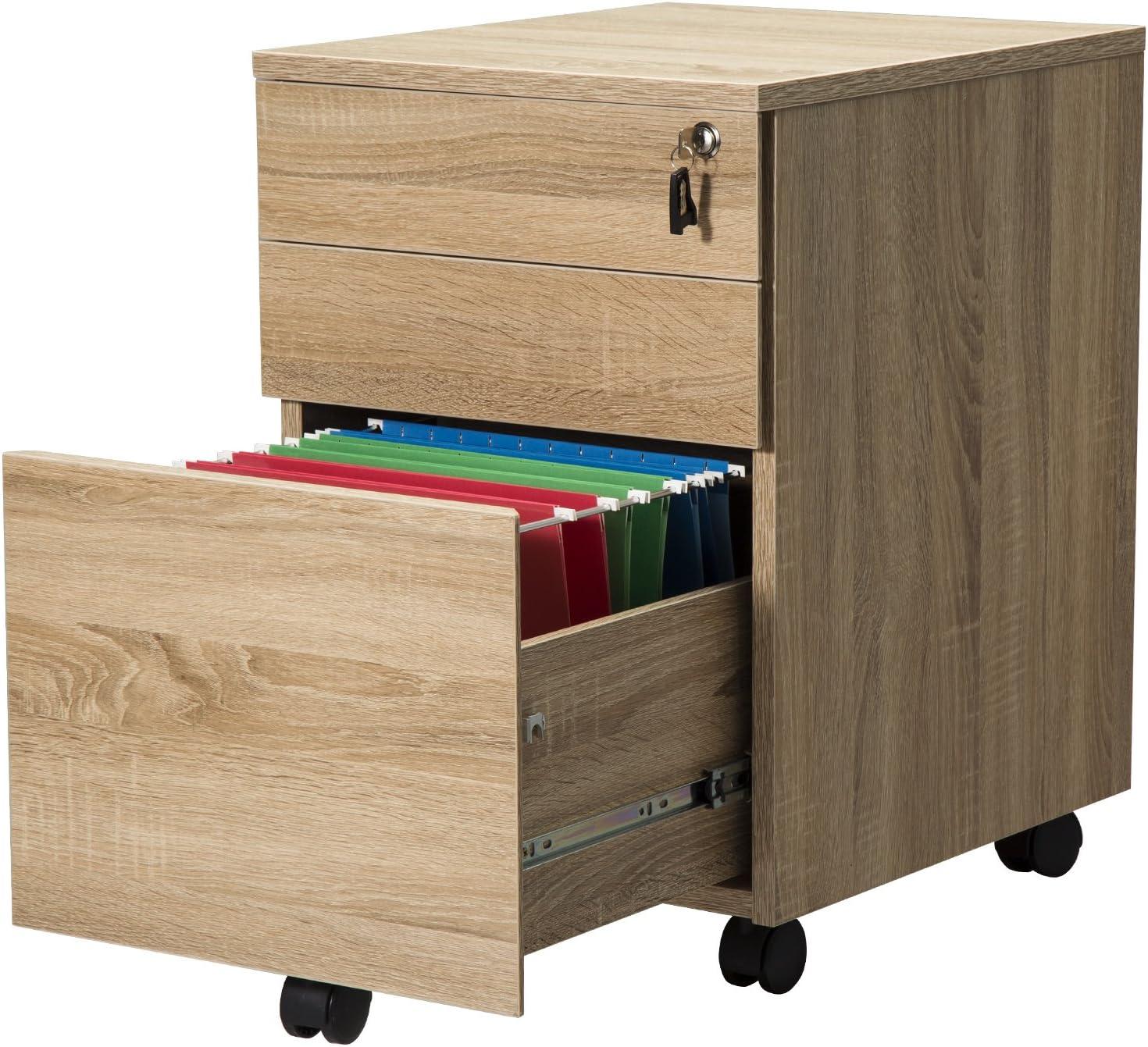 Oak TOPSKY 3 Drawer Wood Mobile File Cabinet Fully Assembled Except Casters