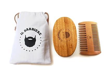 Kit Barba - Cepillo para Barba de Cerdas de Jabalí y Peine de madera - Conjunto