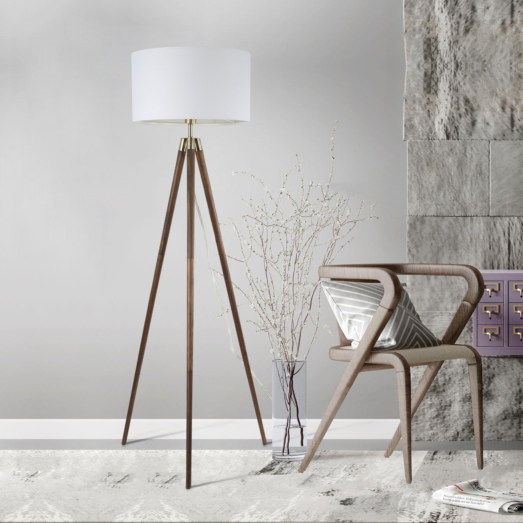 Light Society Celeste Tripod Floor Lamp, Walnut Wood Legs with Antique Brass Finish and White Fabric Shade, Mid Century Contemporary Modern Style (LS-F233-WAL) by Light Society (Image #6)