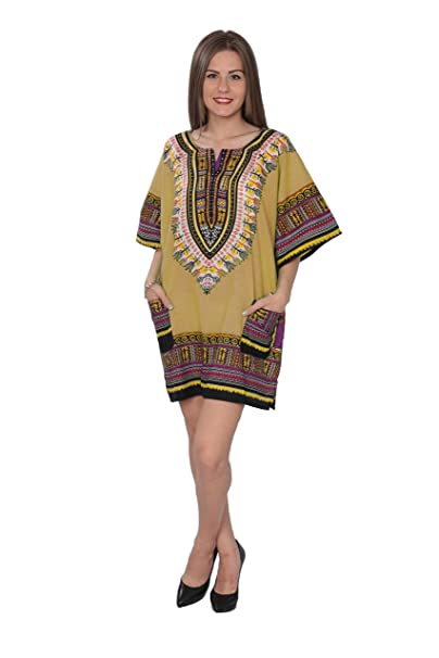357a48e5591 Dashiki-Style Tunic Dress One Size Must Fit - Free Size Beige at ...