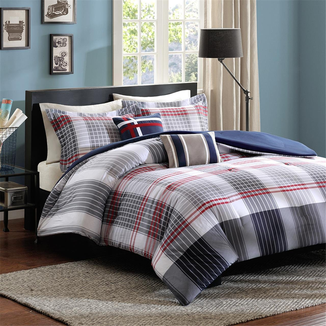 Intelligent Design Caleb Comforter Set Blue Twin//Twin XL ID10-174