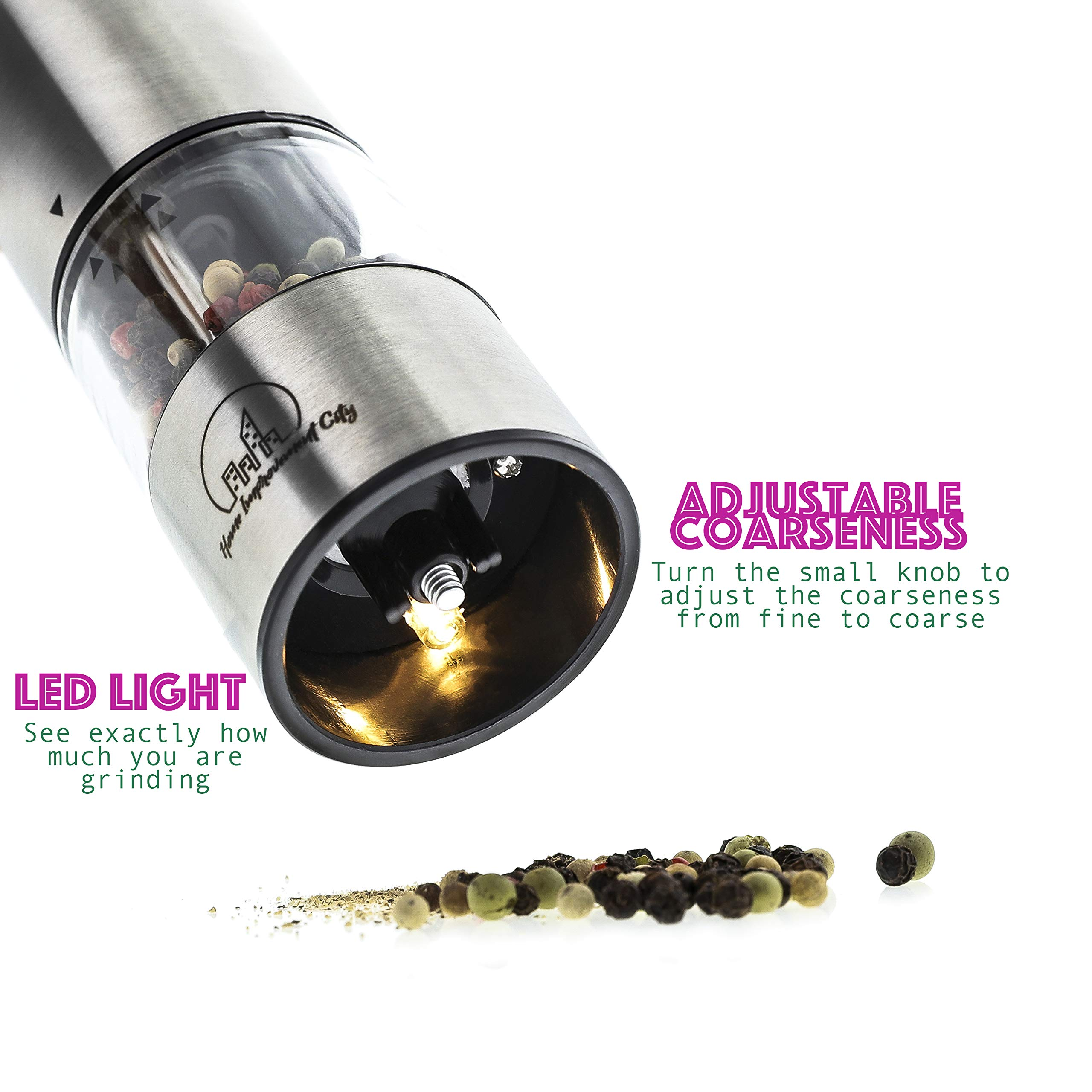 Electric Salt And Pepper Grinder Set by Home Improvement City - Battery Operated Stainless Steel Mills With LED Lights And Clear Acrylic Glass - Automatic One Hand Operation And Adjustable Coarseness by Home Improvement City (Image #4)