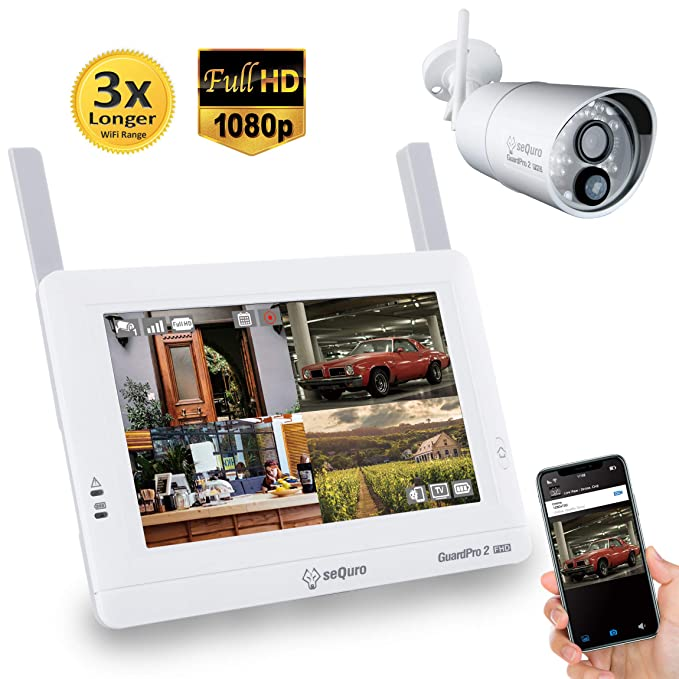 Sequro GuardPro2 1080P Long Range Security Camera System Wireless with 7-inch Touchscreen Monitor, 4CH NVR Kit and Night Vision 2.0MP Camera with PIR ...