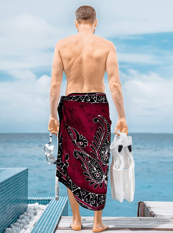LA LEELA Mens Main Rayonne Batik en Hawaiien Maillots de Bain Sarong