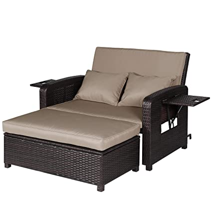 Admirable Amazon Com Furniture Outdoor Wicker Love Seat Daybed 2 Pdpeps Interior Chair Design Pdpepsorg