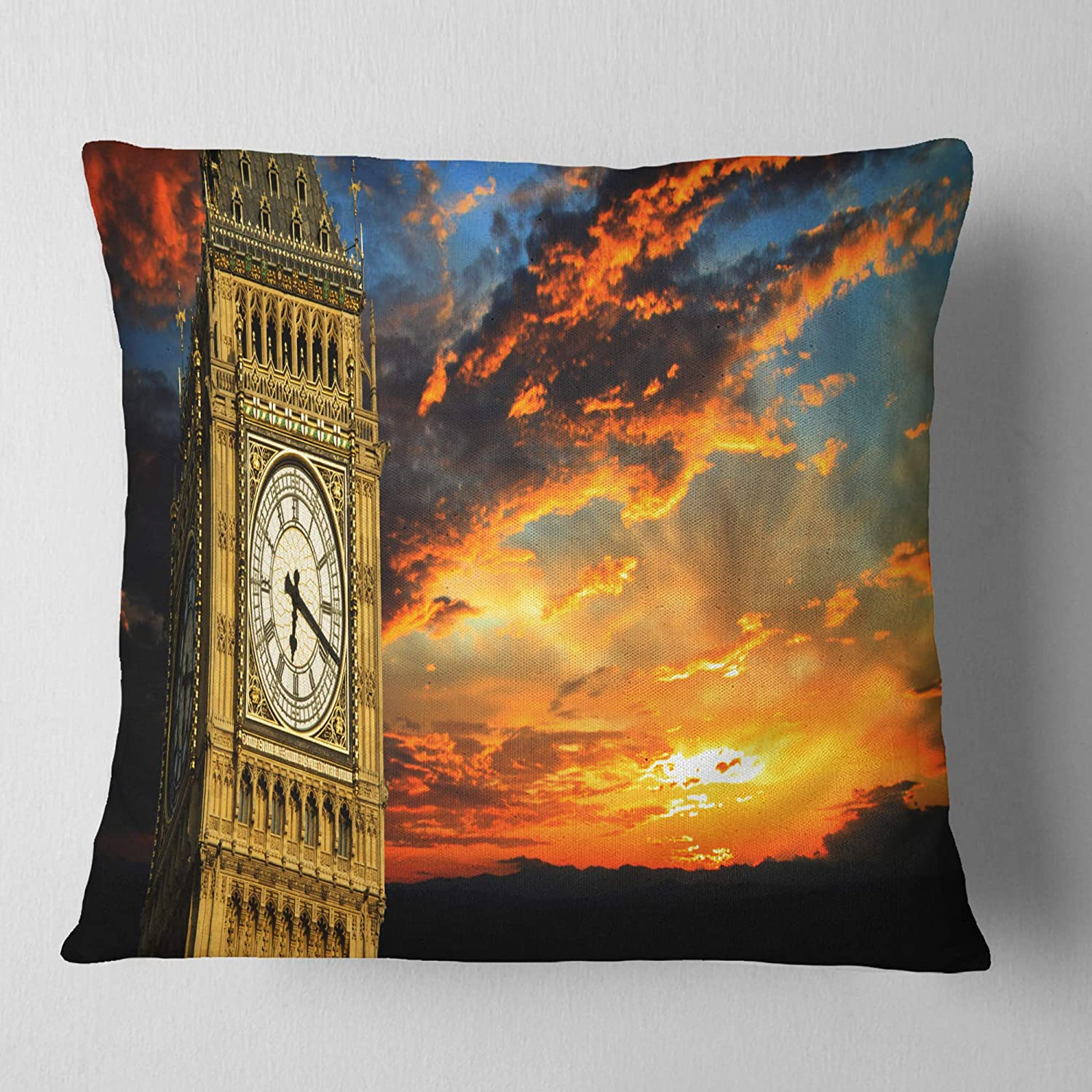Designart CU10869-26-26 Big Ben UK London at Sunset Panorama Landscape Printed Cushion Cover for Living Room x 26 in in Sofa Throw Pillow 26 in
