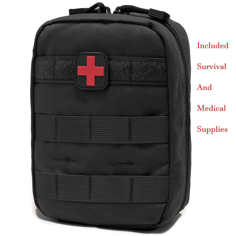 Carlebben Survival First Aid Kit EMT Pouch MOLLE Ifak Pouch Tactical MOLLE Medical First Aid Kit Utility Pouch (Survival Medical Supplies BK)