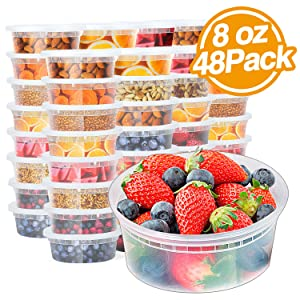 Glotoch 8oz Plastic Containers with Lids- Leakproof Slime,Deli, Food Storage,Soup,Meal Prep Containers.BPA Free,Stackable and Reusable. Freezer & Dishwasher &Microwave Safe(1Cup 48Pack)