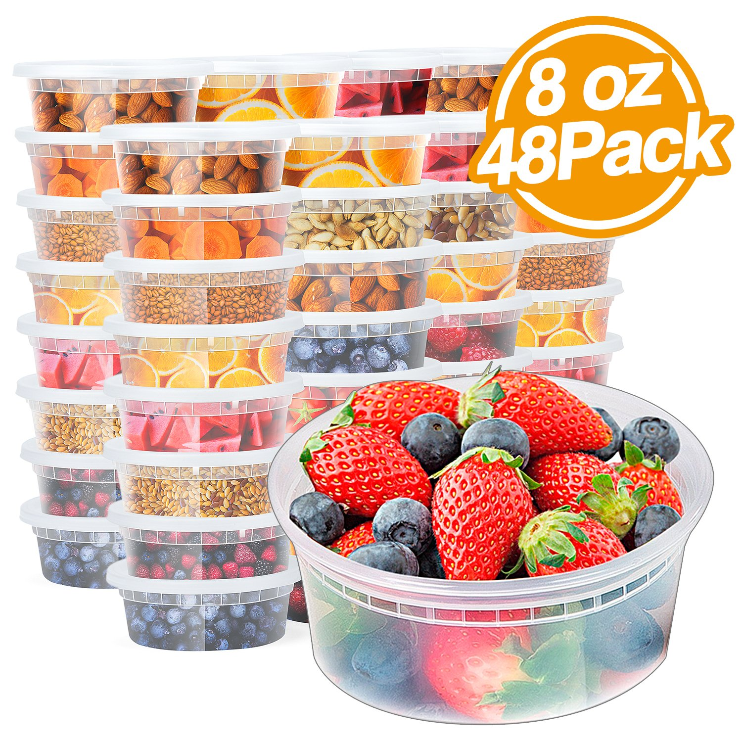 Glotoch 48pack 8oz Deli Food Storge containers with lids.Food grade plastic containers BPA FREE leakproof Restaurant Deli Cups,Foodsavers,Bento Lunch Box, Portion Control,and Meal Prep Containers