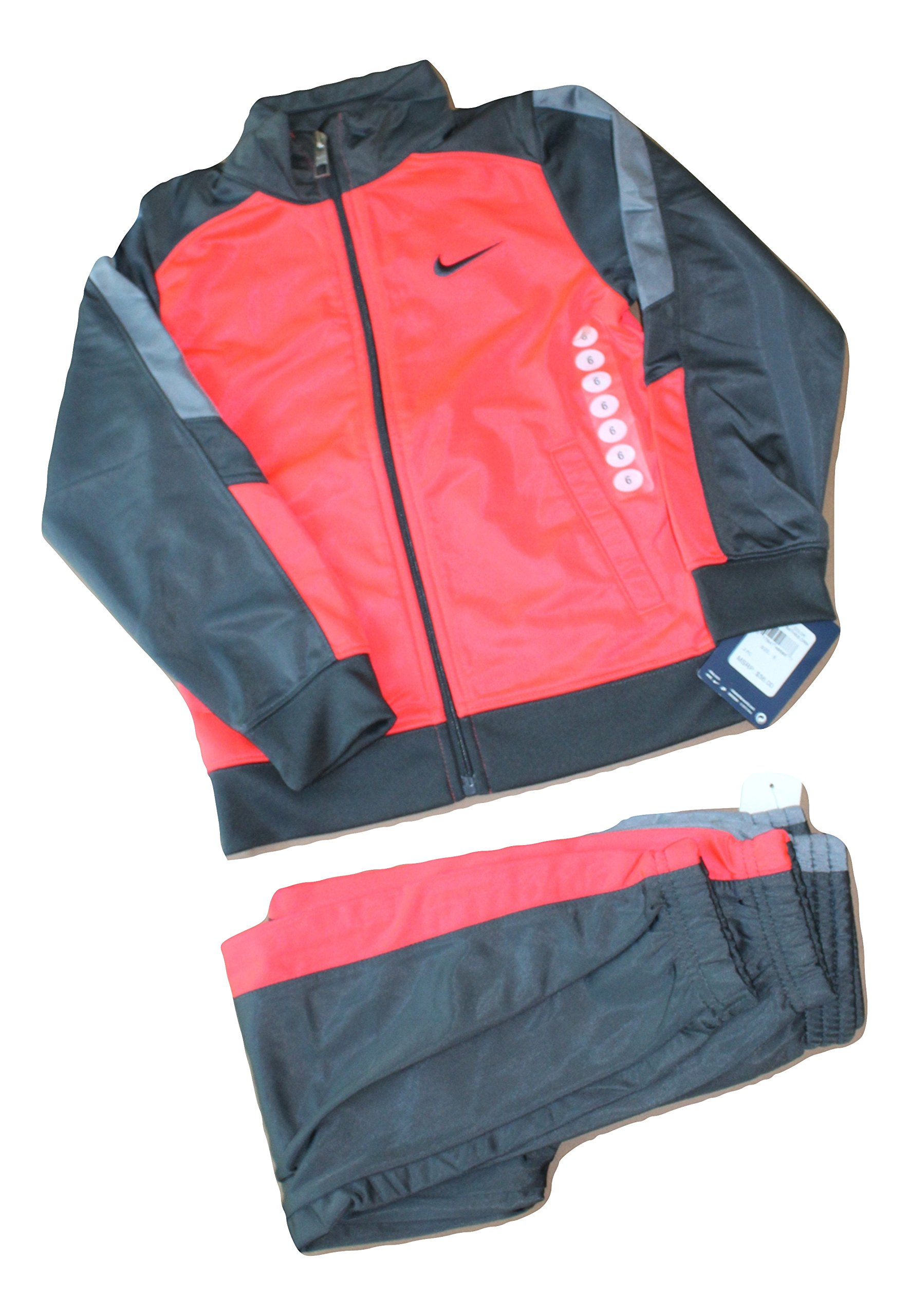Nike Boys 4-7 Tricot Colorblocked Track Jacket & Pants Set (6, Anthracite Crimson)
