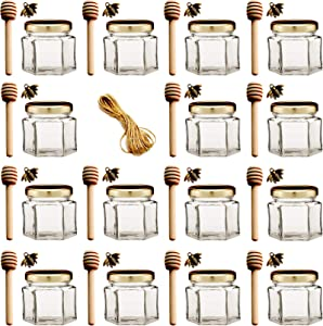Adabocute 2 oz 15 pack Hexagon Mini Glass Honey Jars with Wood Dipper, Gold Lid, Bee Pendants, Jutes - Perfect for Baby Shower, Wedding Favors, Party Favors