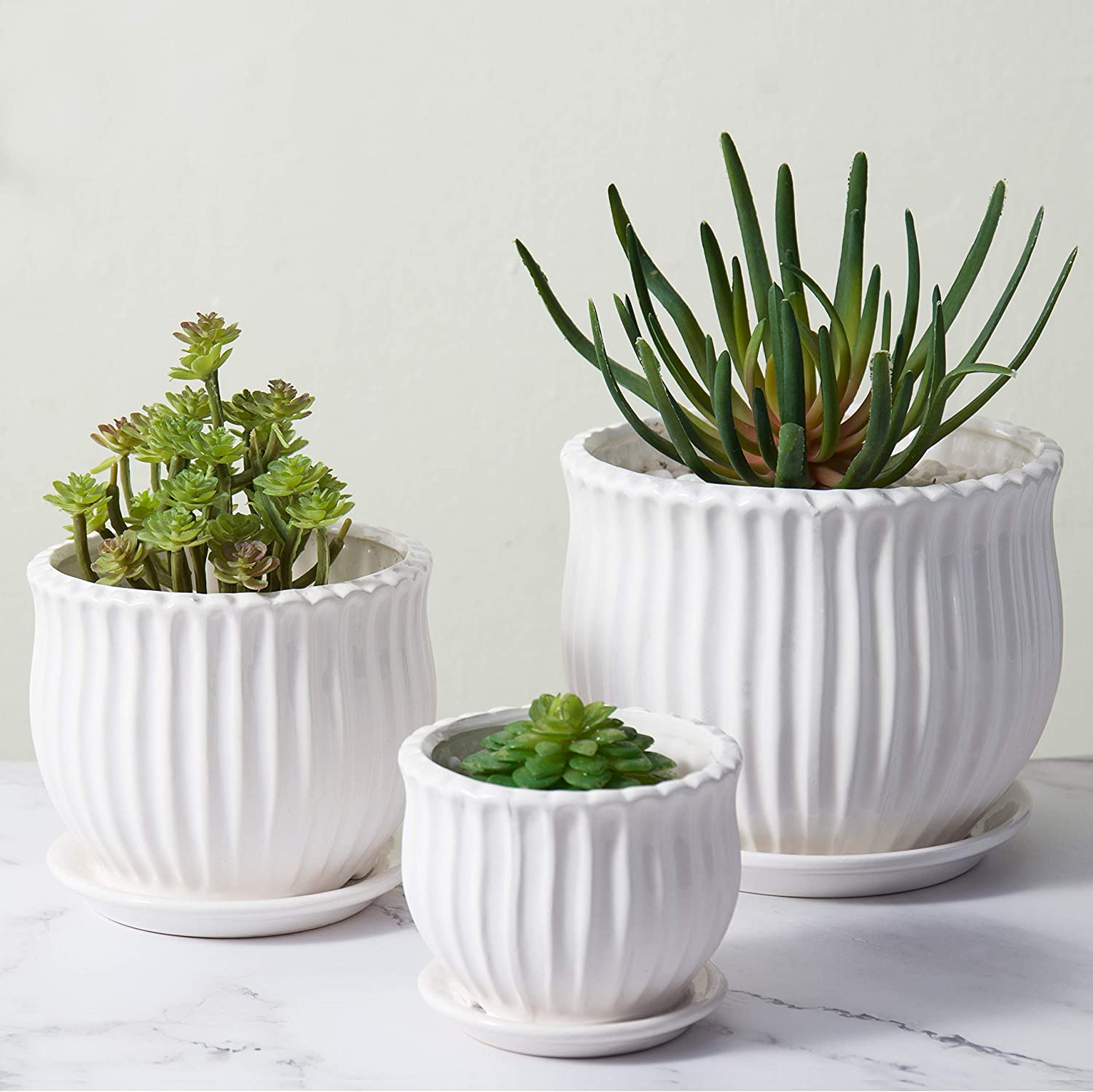 MyGift Fluted White Ceramic Pots with Saucers, Set of 3