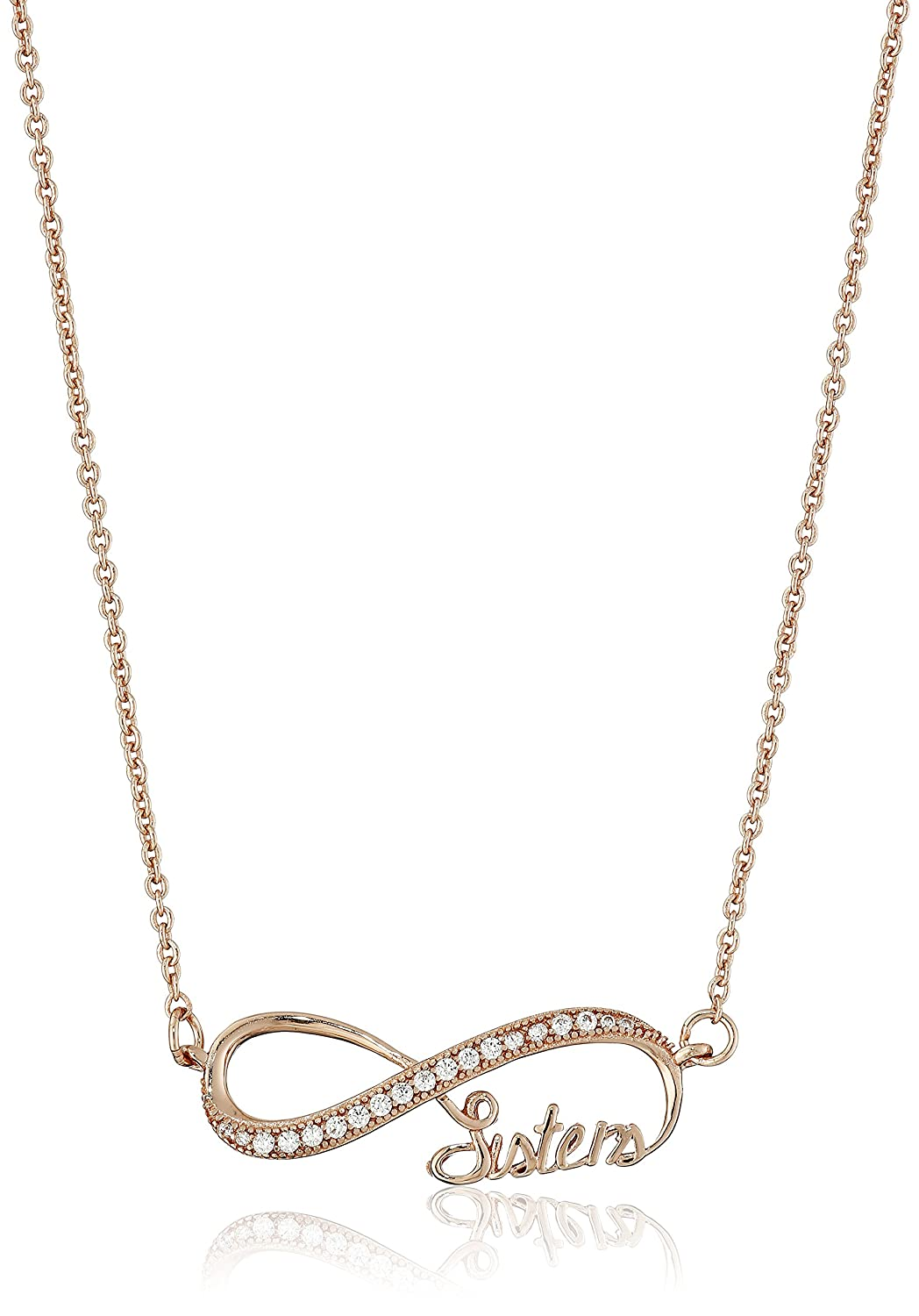 Sisters Family Love Sterling Silver Cubic Zirconia Infinity Faith 18 Mom Friends Pendant Necklace Hope