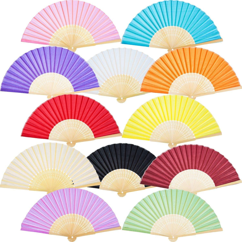 Bamboo Folding Fan, Chinease/Japanese Handmade Craft Fans for Women/Men,Hand Fan Festival Fan Gift Fan Dance Fan(12 Pack Multicolor)