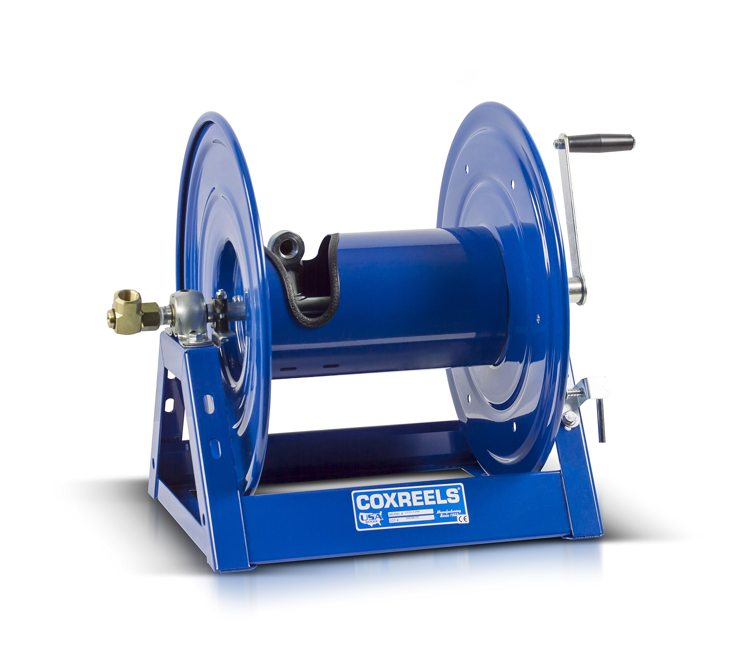 Coxreels 1125-5-100 Steel Hand Crank Hose Reel, 3/4'' Hose I.D., 100' Hose Capacity, 3,000 PSI, without Hose, Made in USA