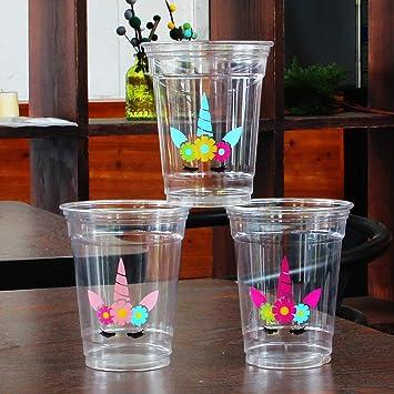 AMZTM Vasos De Fiesta - Suministros Decoración De Fiesta Unicornio 12 Piezas Vasos De Plástico Unicornio