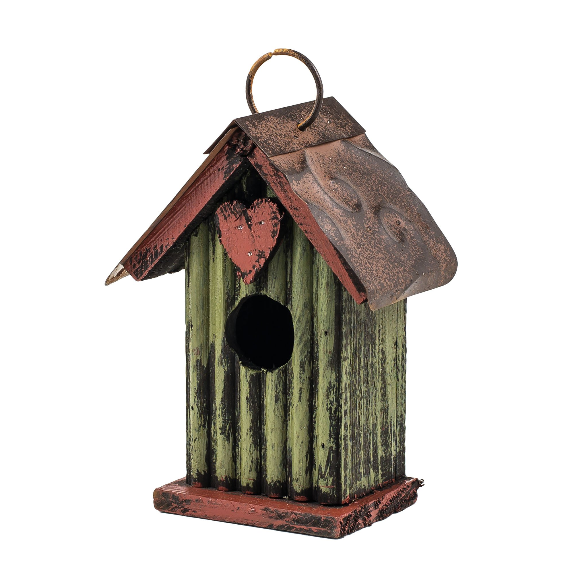 6.5'' Green with Heart Hanging Rustic Style Birdhouse