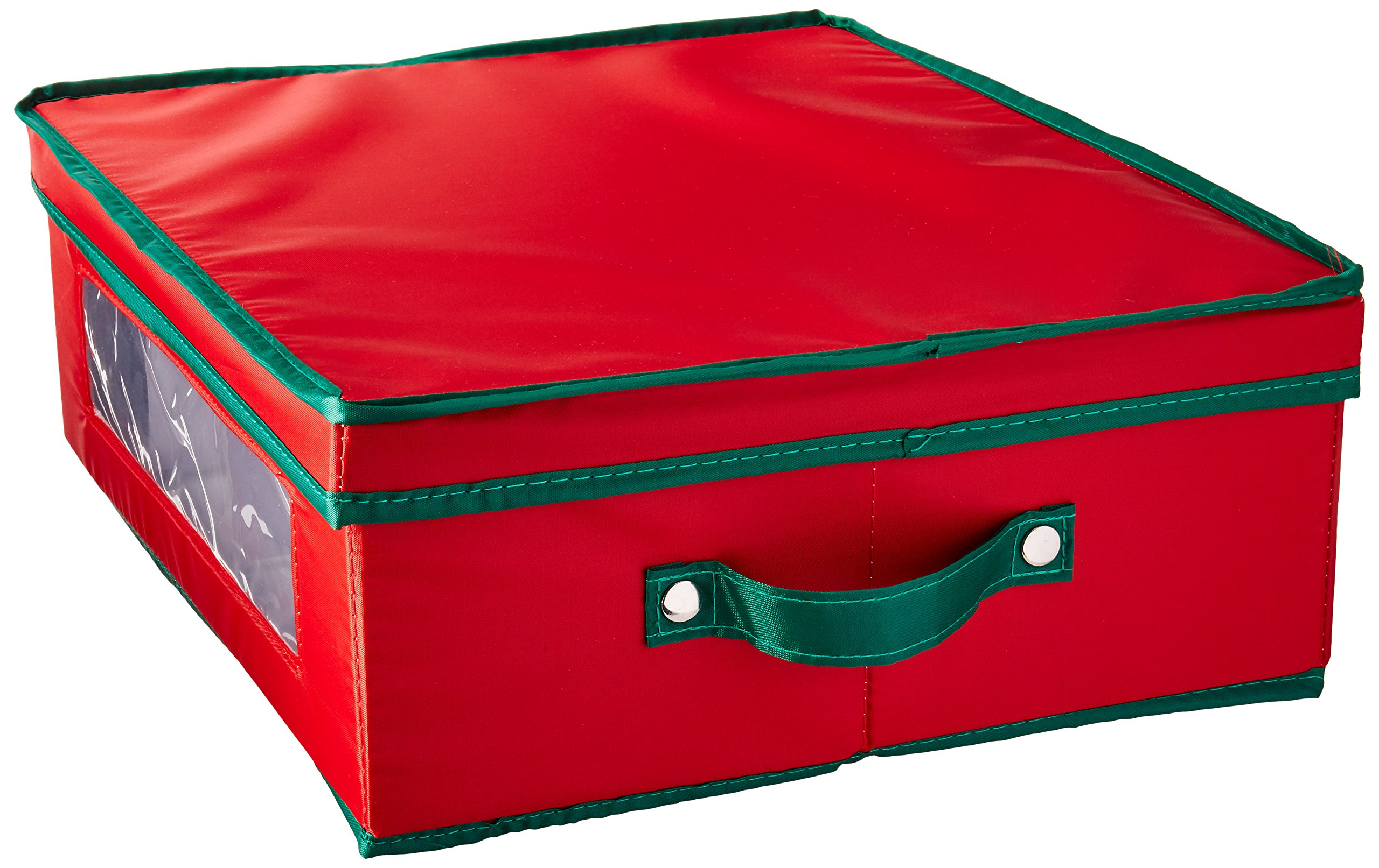 Household Essentials 538RED Holiday China Dinnerware Storage Chest Coffee Mugs | Removable Lid | Red Canvas Green Trim
