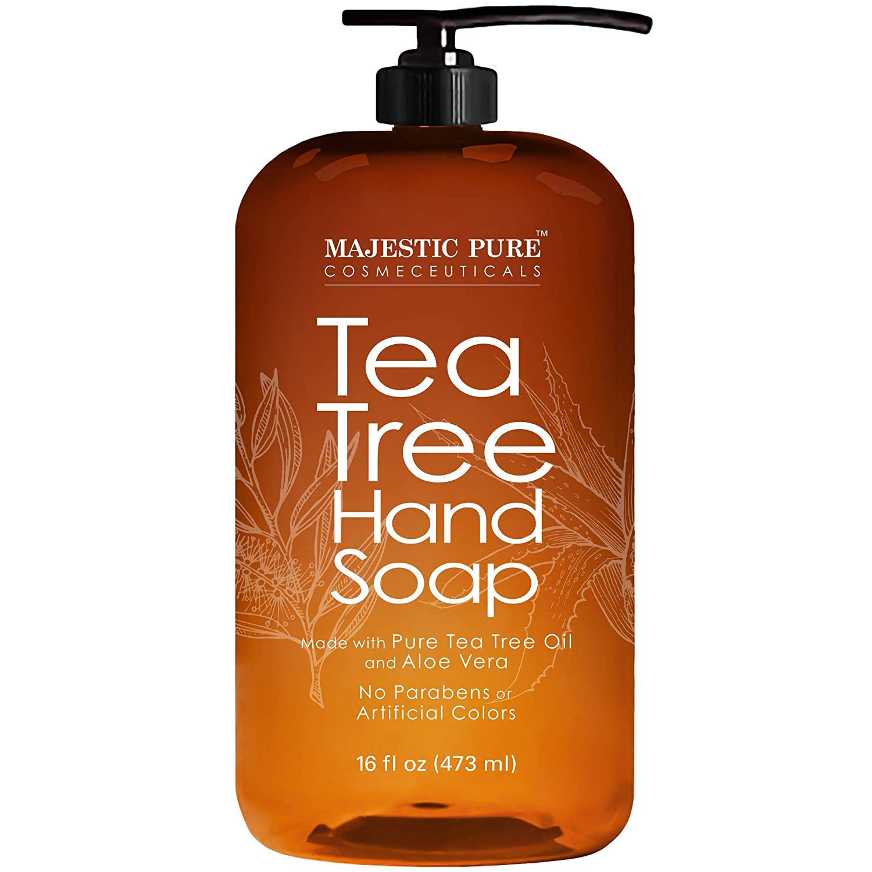 Majestic Pure Tea Tree Hand Soap - Liquid Hand Wash with Pure Aloe Vera, Rosemary & Spearmint - Hand Wash with Pump -16 fl oz