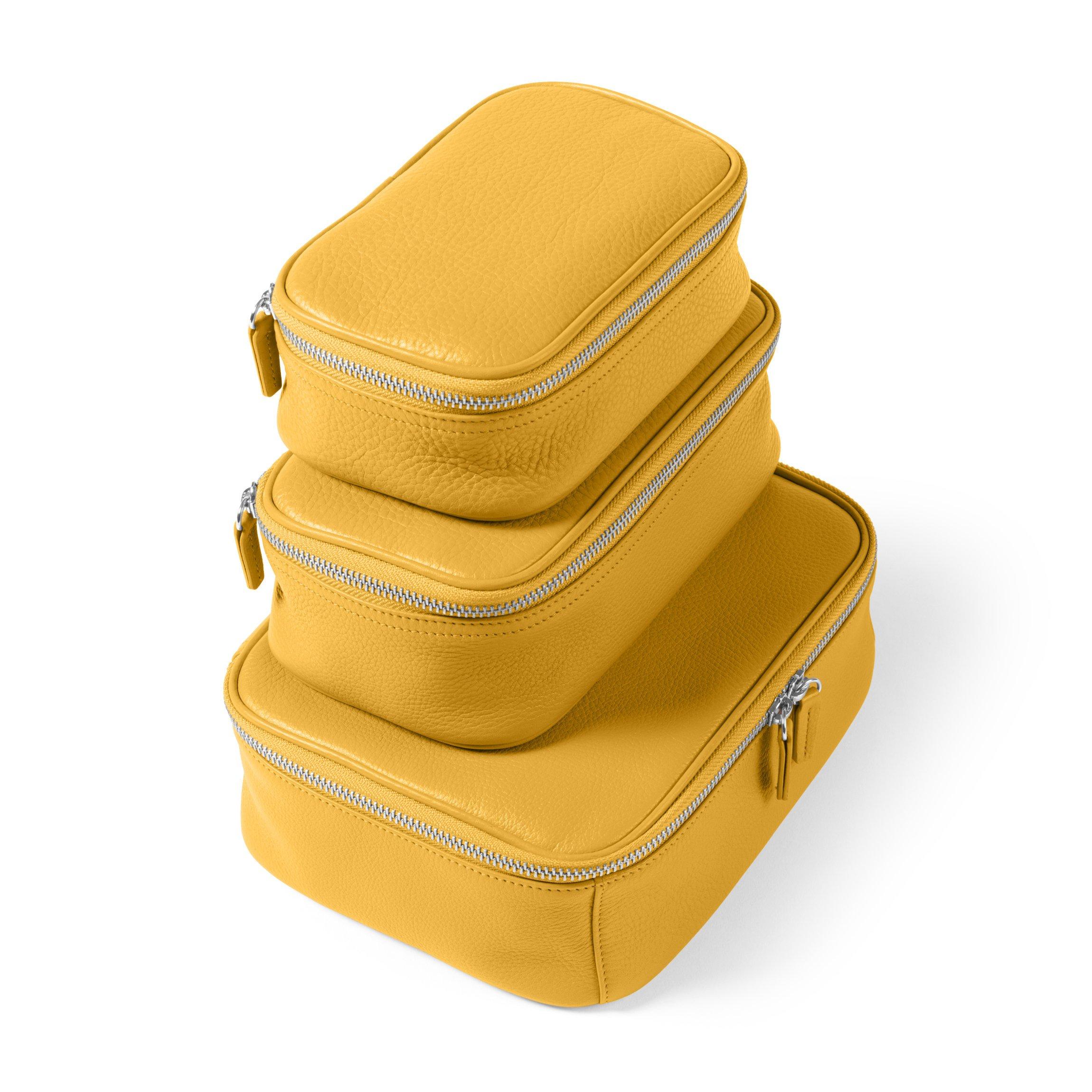Leatherology Nested Travel Organizer Trio - Full Grain Leather Leather - Turmeric (Yellow)