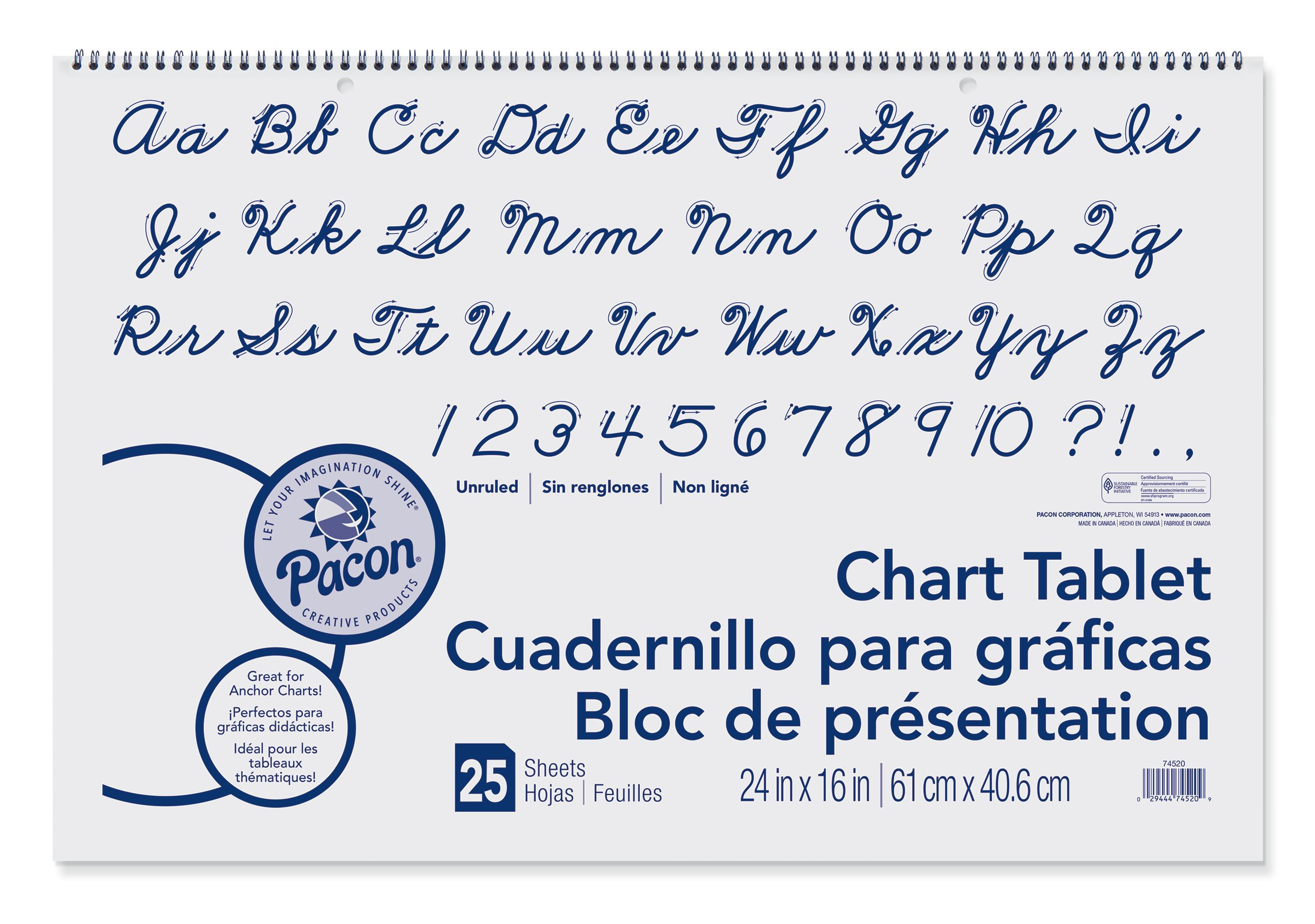 Pacon Chart Tablet, Cursive Cover, Unruled 24'' x 16'', 25 Sheets