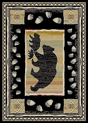 Rug Empire Take the Bear Rustic Lodge Area, 7 10 W X 9 10 L, Lead Black
