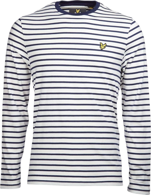 Lyle /& Scott Racing White /& Pink Breton Stripe Long Sleeve T-Shirt