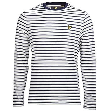 d76c901fd Lyle & Scott Long Sleeve Breton Stripe Tee White: Amazon.co.uk: Clothing