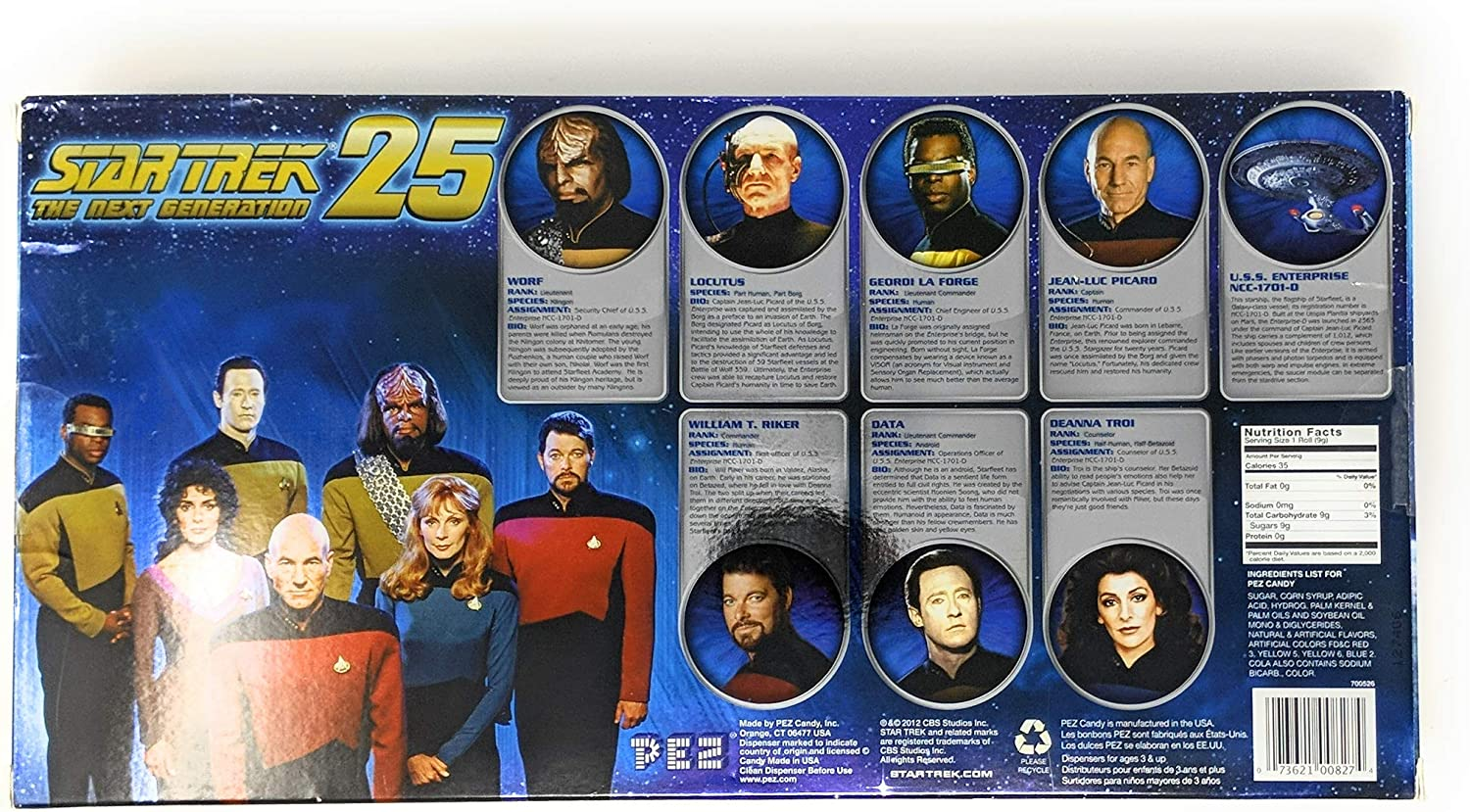 Star Trek : The Next Generation Collectors Set Pez Star Trek : The Next Generation Collector/'s Set PEZ Candy 700526 8 Characters Exclusive
