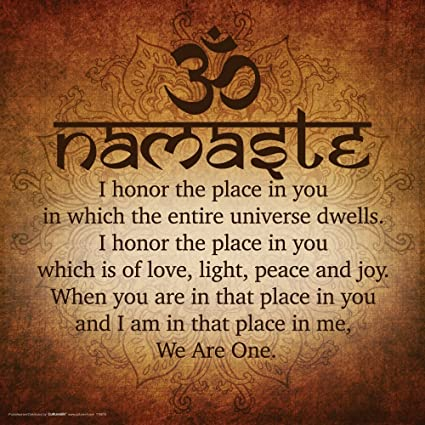 Culturenik Namaste Buddhist Inspirational Motivational Spiritual Yoga Quote Print Unframed 12x12 Poster