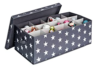 Shop Weihnachtskugeln.Store It Storage Box Holds Upto 30 Christmas Bauble With Dividers Polyester Grey 56 X 36 X 25 Cm