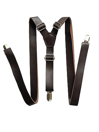a poco prezzo prezzo basso gamma completa di specifiche Bretelle vintage in pelle marrone rustico marrone scuro marrone scuro per  uomo Bretelle