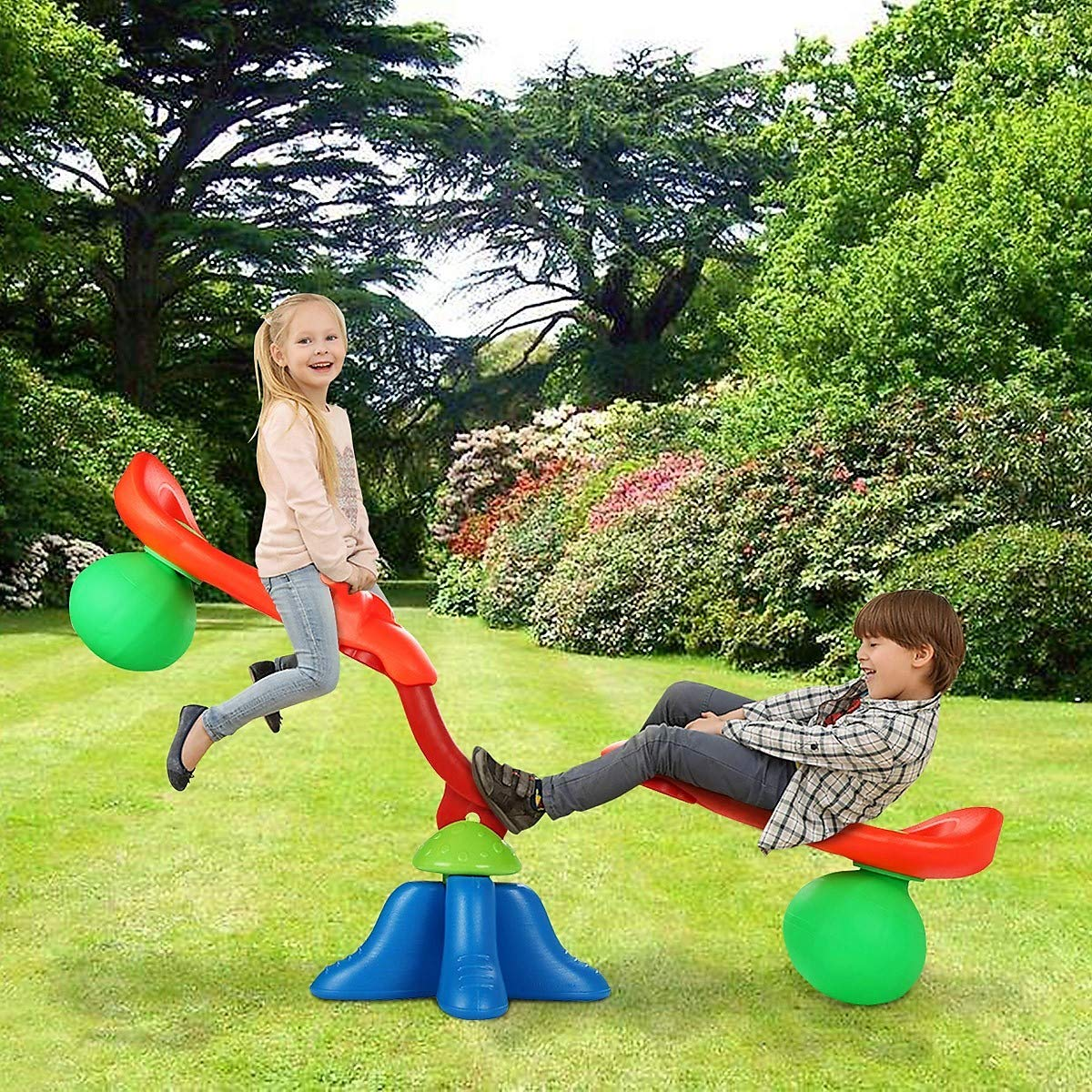 Lucky-gift - Kids Seesaw 360 Degree Spinning Teeter - Teeter Totter for Kids - 360 Degree Sturdy Child Spinning Kids - Teeter Play Outdoor Set - Bouncer Totter Activity Children Sporting Fun Seats by Lucky-gift