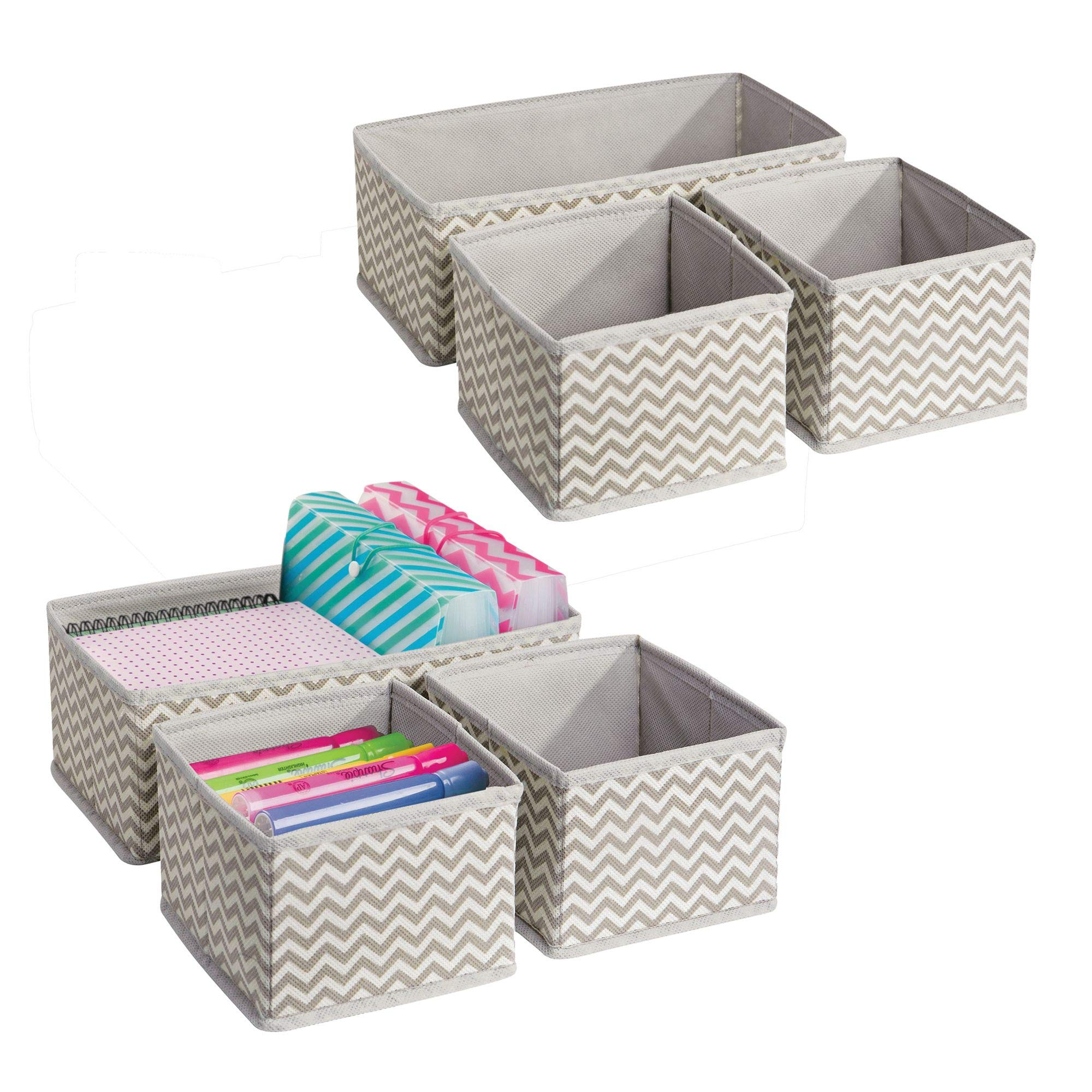 mDesign Chevron Fabric Desk Drawer Storage Organizer for Office Supplies, Highlighters, Pens, Notepads, Scissors, Tape - Set of 6, Taupe/Natural