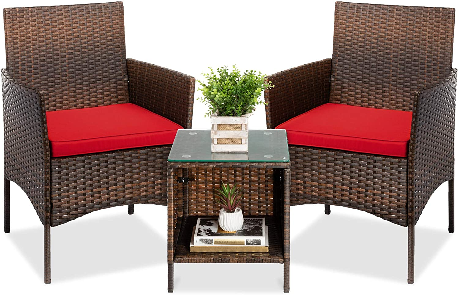Best Choice Products 3-Piece Outdoor Wicker Conversation Bistro Set, Patio Furniture for Yard, Garden w/ 2 Chairs, 2 Cushions, Side Storage Table - Brown/Red