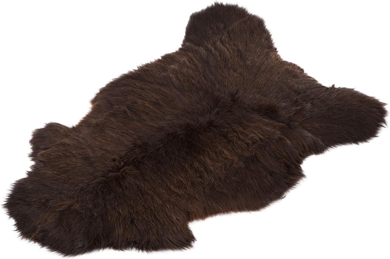 Amazinggirl Alfombra Pelo alfombras de pelos - Piel OvejaReal Piel CorderoPiel para sillas Funda de Asiento Decorativa Real Piel de bebé 110-115cm marrón