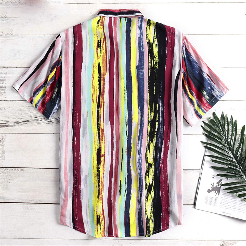 Men Striped Casual Shirt Lapel Neck Short Sleeve Button Breathable Tops Camisa Streetwear Men Hawaiian Shirts S-5XL