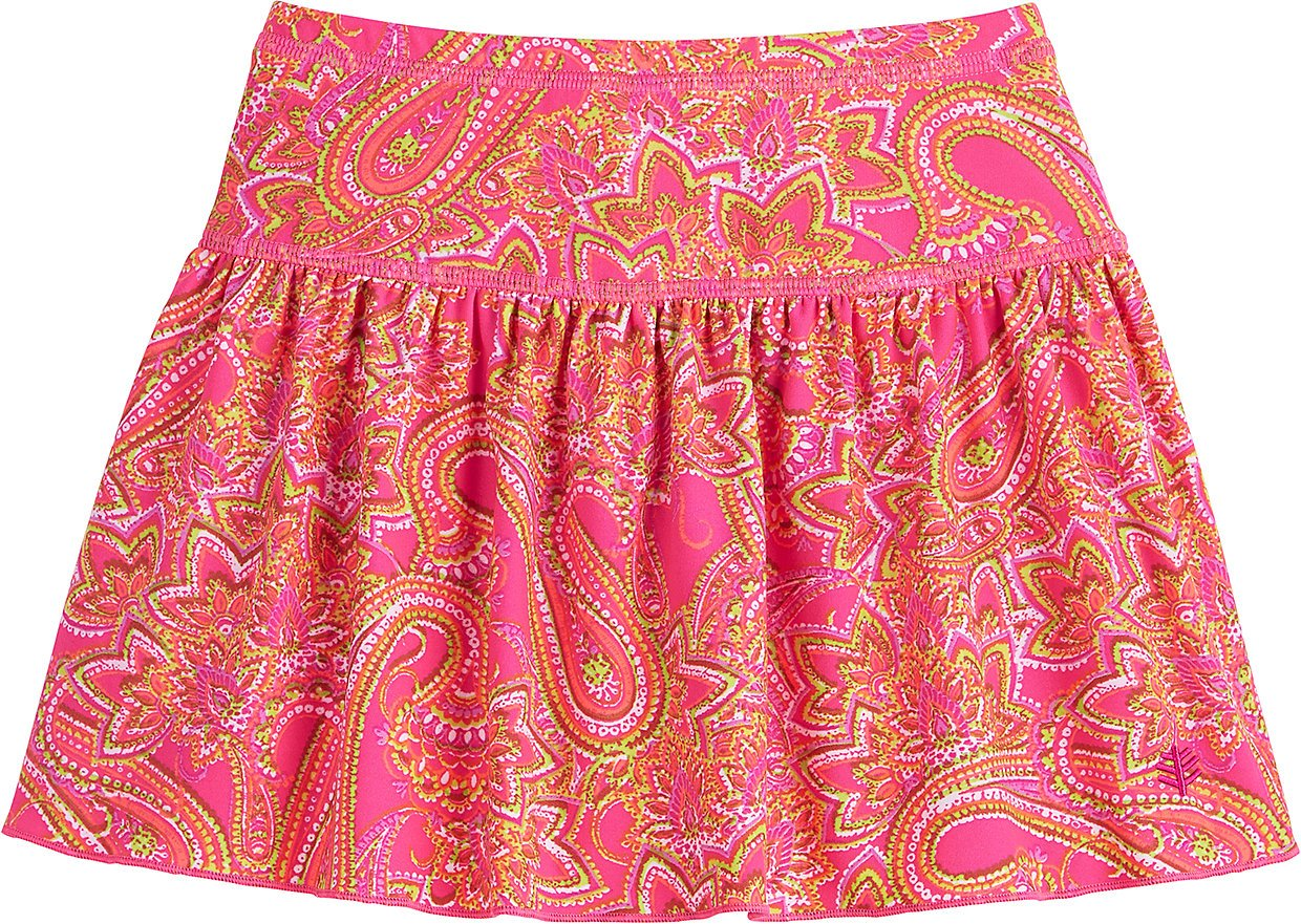 Coolibar UPF 50+ Girls' Swim Skirt - Sun Protective (X-Small- Pink Paisley) by Coolibar
